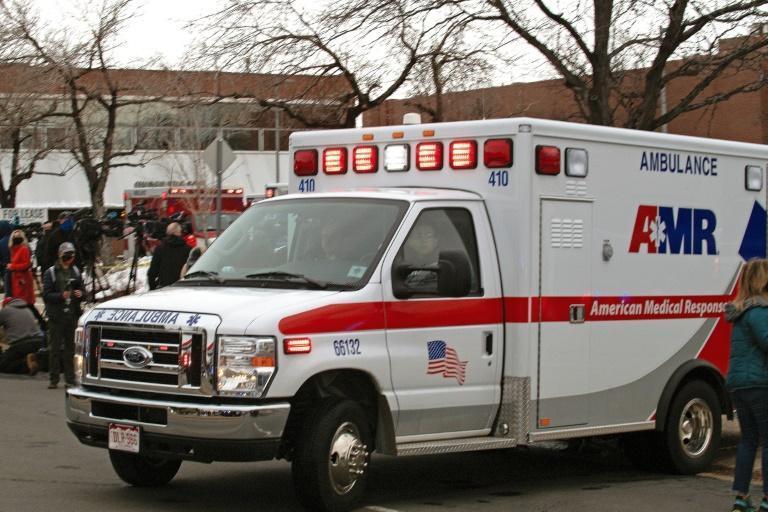 An ambulance leaves the parking lot of the King Soopers grocery store in Boulder, Colorado after reports of an active shooter on March 22, 2021.Police responded to an active shooter at a grocery store in the western US state of Colorado