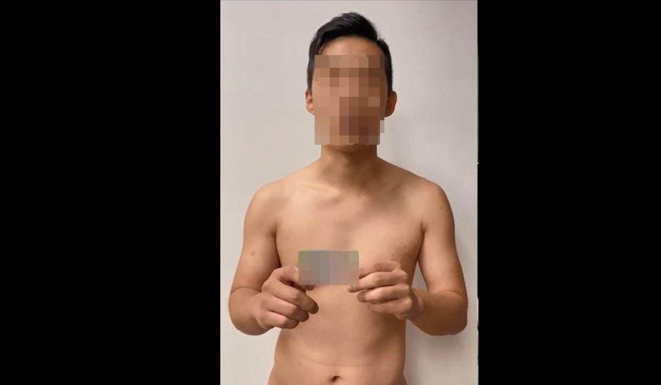 The 71-second video clip shows a man with his identity card and claiming to be a member of a Sun Yee On triad faction. Photo: Facebook