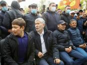 Former President Atambayev and former PM Babanov attend a rally in Bishkek