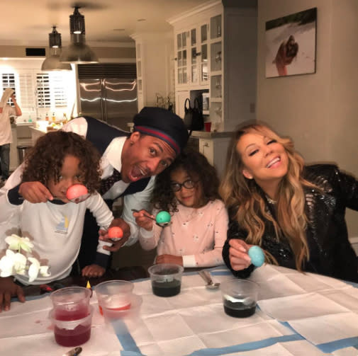Nick Cannon and Mariah Carey celebrate Easter together.