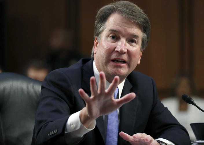 Supreme Court nominee Brett Kavanaugh responds to a question from Harris as he testifies before the Senate Judiciary Committee. (Alex Brandon/AP)