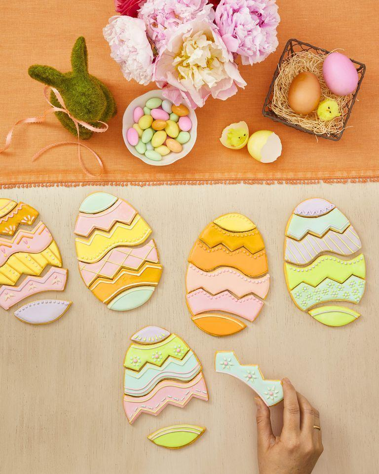"""<p>This one makes for a fun holiday game <em>and</em> a delicious treat in one — just cut egg-shaped sugar cookies to create the prettiest and most festive edible puzzles! </p><p><strong>RELATED: </strong><a href=""""https://www.goodhousekeeping.com/holidays/easter-ideas/g4154/easter-games/"""" rel=""""nofollow noopener"""" target=""""_blank"""" data-ylk=""""slk:22 Best Easter Games for Kids That Will Make Everyone So Hoppy"""" class=""""link rapid-noclick-resp"""">22 Best Easter Games for Kids That Will Make Everyone So Hoppy</a></p>"""