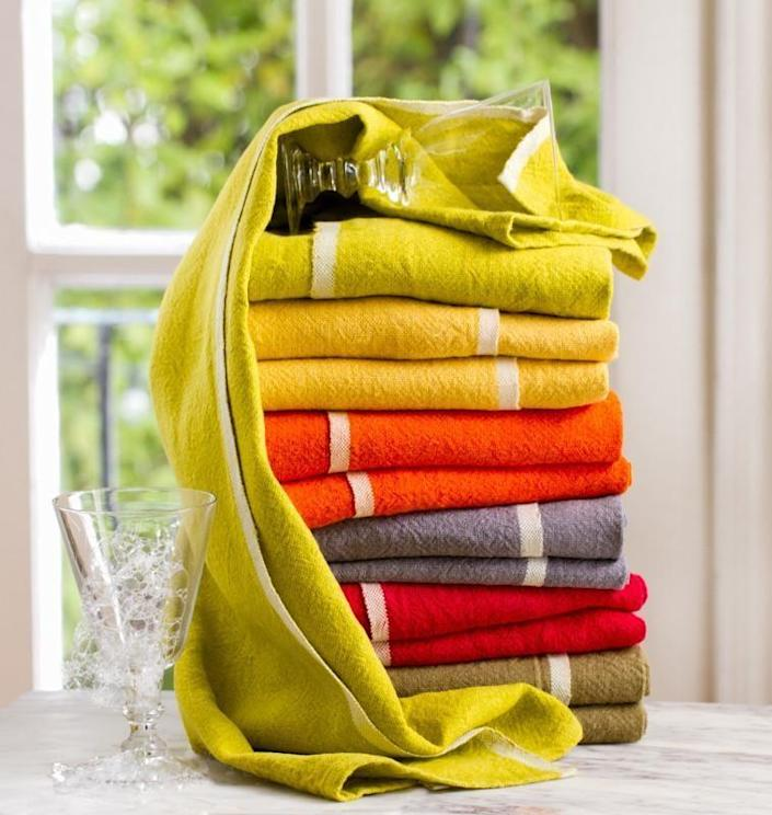 """These brightly colored towels are handmade, organic, and simply lovely! $65, Caravan. <a href=""""https://www.caravanhomedecor.com/collections/kitchen-towels/products/chunky-linen-hand-towels-set-of-2?variant=16741000020025"""" rel=""""nofollow noopener"""" target=""""_blank"""" data-ylk=""""slk:Get it now!"""" class=""""link rapid-noclick-resp"""">Get it now!</a>"""