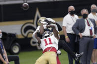 New Orleans Saints cornerback Janoris Jenkins breaks up a pass intended for San Francisco 49ers wide receiver Brandon Aiyuk (11) in the second half of an NFL football game in New Orleans, Sunday, Nov. 15, 2020. (AP Photo/Brett Duke)