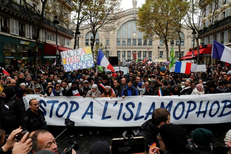 The march was called after an elderly far-right activist attacked a mosque in southern France, shooting and injuring two people (AFP Photo/GEOFFROY VAN DER HASSELT)