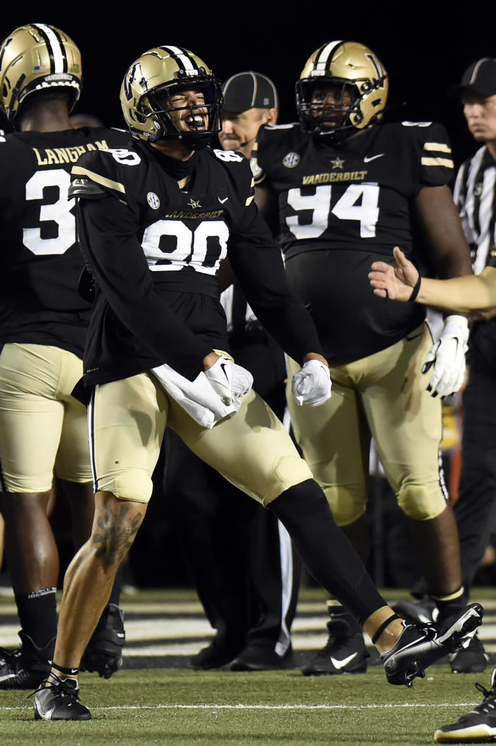Vanderbilt defensive lineman Alex Williams (80) celebrates after the defense stopped Stanford at the goal line in the first half of an NCAA college football game Saturday, Sept. 18, 2021, in Nashville, Tenn. (AP Photo/Mark Zaleski)