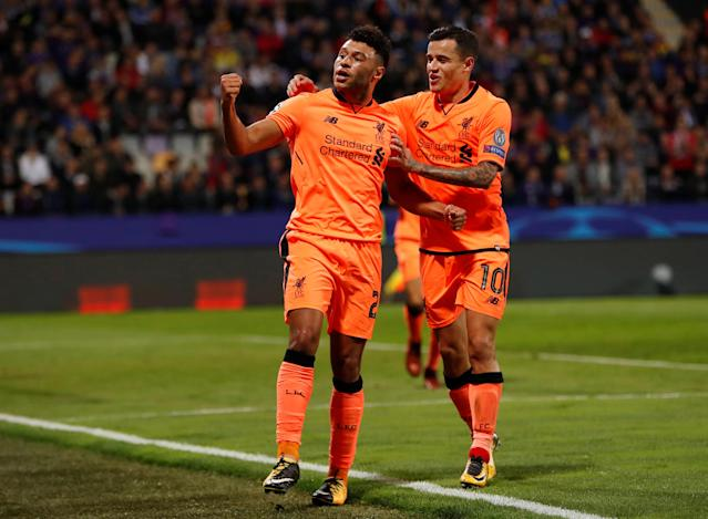 Soccer Football - Champions League - Maribor vs Liverpool - Ljudski vrt, Maribor, Slovenia - October 17, 2017 Liverpool's Alex Oxlade-Chamberlain celebrates scoring their sixth goal with Philippe Coutinho Action Images via Reuters/Paul Childs