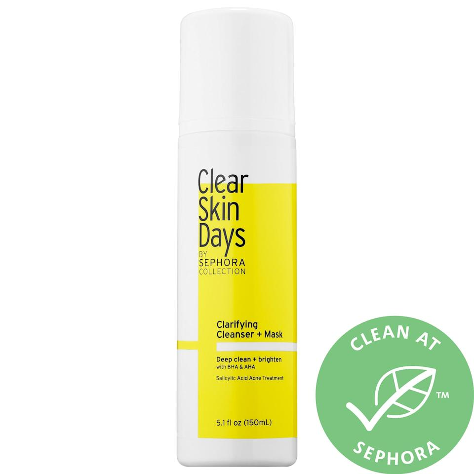 """<p>This <a href=""""https://www.popsugar.com/buy/Clear-Skin-Days-Sephora-Collection-Clarifying-Cleanser-Mask-491702?p_name=Clear%20Skin%20Days%20by%20Sephora%20Collection%20Clarifying%20Cleanser%20%2B%20Mask&retailer=sephora.com&pid=491702&price=10&evar1=bella%3Aus&evar9=46630822&evar98=https%3A%2F%2Fwww.popsugar.com%2Fbeauty%2Fphoto-gallery%2F46630822%2Fimage%2F46631826%2FClear-Skin-Days-by-Sephora-Collection-Clarifying-Cleanser-Mask&list1=shopping%2Cbeauty%20shopping%2Cunder%20%2425%2Caffordable%20shopping%2Cskin%20care&prop13=mobile&pdata=1"""" rel=""""nofollow"""" data-shoppable-link=""""1"""" target=""""_blank"""" class=""""ga-track"""" data-ga-category=""""Related"""" data-ga-label=""""https://www.sephora.com/product/clear-skin-days-by-sephora-collection-clarifying-cleanser-mask-P448487?icid2=justarrivedskincare_us_skugrid_ufe:p448487:product"""" data-ga-action=""""In-Line Links"""">Clear Skin Days by Sephora Collection Clarifying Cleanser + Mask</a> ($10) does double duty, making it an absolute necessity in your skincare routine.</p>"""