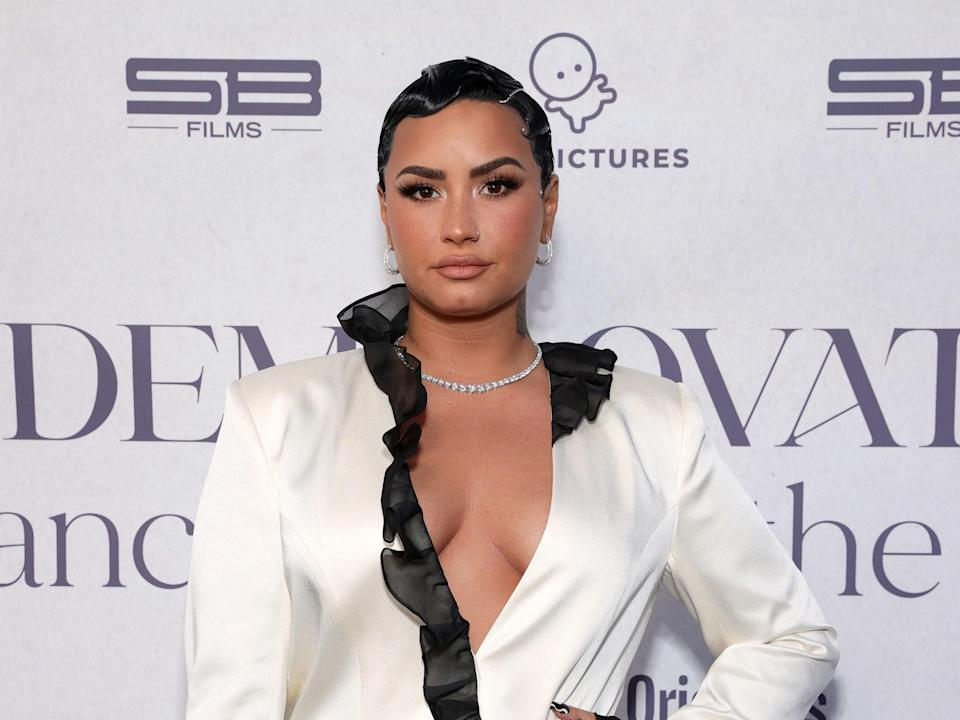 Demi Lovato at the premiere of the documentary 'Demi Lovato: Dancing With The Devil' on 22 March 2021 in Beverly Hills, California (Rich Fury/Getty Images for OBB Media)
