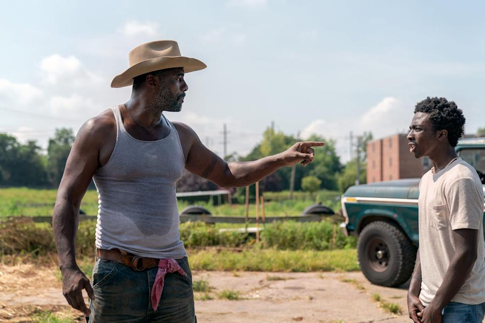"In ""Concrete Cowboy,"" Idris Elba plays a Philadelphia cowboy who takes in his estranged and troubled teen son (Caleb McLaughlin) and shows him the ways of the cowboy in the Western-tinged drama."