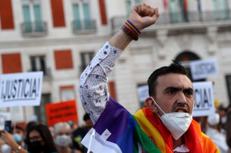 LGBTIQ+ activists and supporters demonstrate against hate crimes, in Madrid