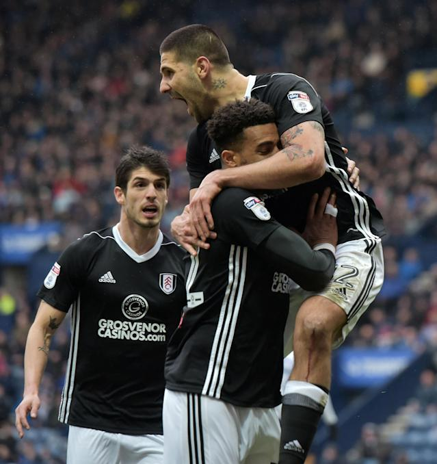 "Soccer Football - Championship - Preston North End vs Fulham - Deepdale, Preston, Britain - March 10, 2018 Fulham's Aleksandar Mitrovic celebrates with team mates after scoring their first goal Action Images/Paul Burrows EDITORIAL USE ONLY. No use with unauthorized audio, video, data, fixture lists, club/league logos or ""live"" services. Online in-match use limited to 75 images, no video emulation. No use in betting, games or single club/league/player publications. Please contact your account representative for further details."