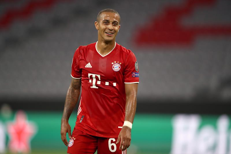 MUNICH, GERMANY - AUGUST 08: Thiago Alcantara of Bayern Munich reacts during the UEFA Champions League round of 16 second leg match between FC Bayern Muenchen and Chelsea FC at Allianz Arena on August 08, 2020 in Munich, Germany. (Photo by A. Hassenstein/Getty Images for FC Bayern)