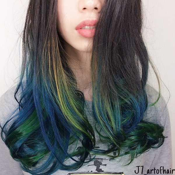 The best hair colour for your chinese zodiac sign in 2018 green and blue highlights by j7 art of hair solutioingenieria Choice Image