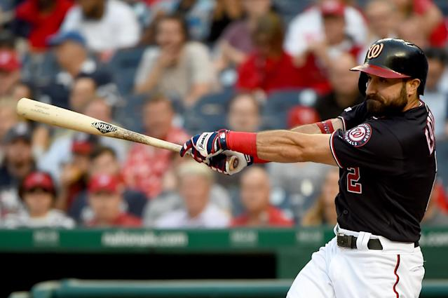 WASHINGTON, DC - JUNE 04: Adam Eaton #2 of the Washington Nationals at bat during the game against the Chicago White Sox at Nationals Park on June 4, 2019 in Washington, DC. (Photo by Will Newton/Getty Images)