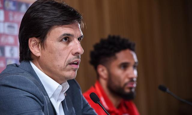 """<span class=""""element-image__caption"""">Chris Coleman and Ashley Williams speak to the press ahead of Wales' match in Dublin</span> <span class=""""element-image__credit"""">Photograph: Matt Browne/Sportsfile via Getty Images</span>"""