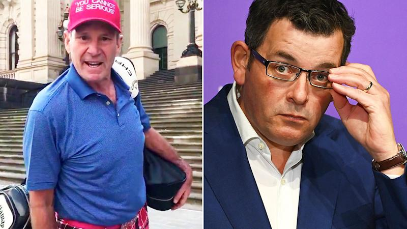 Pictured here, footy identity Sam Newman and Victorian premier Daniel Andrews.