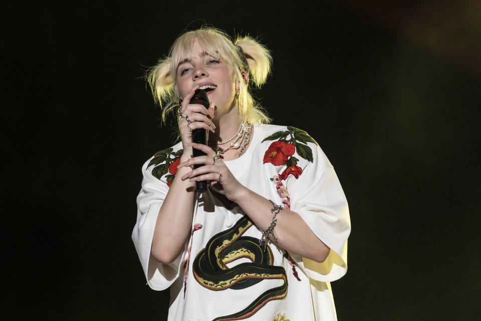 Billie Eilish performs during the Global Citizen festival, Saturday, Sept. 25, 2021, in New York. (AP Photo/Stefan Jeremiah)