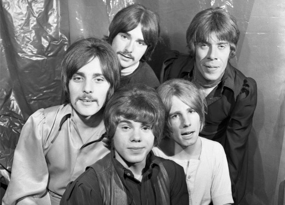 Lancaster (front) seen with the band backstage at Top of the Pops in 1968