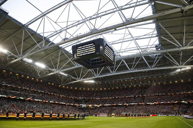 <p>Ajax and Manchester United players take part in a minutes silence in memory of the victims of the Manchester Concert attack prior to the UEFA Europa League Final between Ajax and Manchester United at Friends Arena on May 24, 2017 in Stockholm, Sweden. </p>