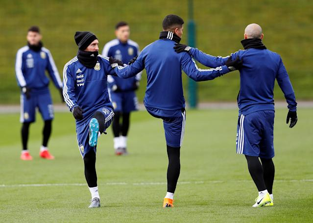 Soccer Football - Argentina Training - City Football Academy, Manchester, Britain - March 20, 2018 Argentina's Lionel Messi and teammates during training Action Images via Reuters/Jason Cairnduff
