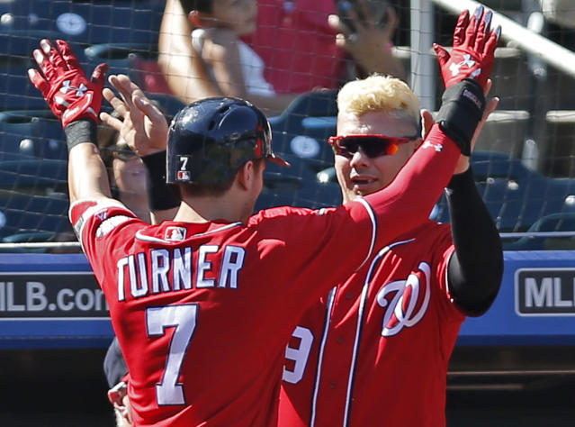 "<a class=""link rapid-noclick-resp"" href=""/mlb/players/10056/"" data-ylk=""slk:Trea Turner"">Trea Turner</a>, multi-category fantasy cornerstone. (AP Photo/Kathy Willens)"