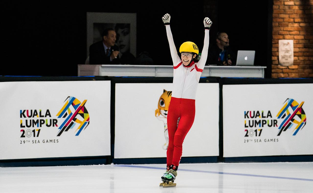 <p>Ice Skating – SGP Cheyenne Goh won bronze medal in 500m short track speed skating on 29th Aug 2017 at Empire City. (Photo by Knight Ong/Sport Singapore) </p>