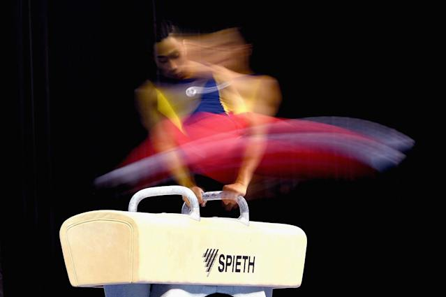 <p>Christopher Remkes of South Australia competes on the pommel horse during the Australian Gymnastics Championships at Hisense Arena on May 26, 2017, in Melbourne, Australia. (Photo: Quinn Rooney/Getty Images) </p>