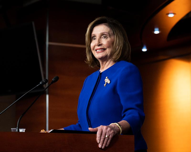 Speaker of the House Nancy Pelosi speaks during her weekly press conference in Washington, DC. on Jan. 9, 2020. (Photo: Michael Brochstein/Echoes Wire/Barcroft Media via Getty Images)