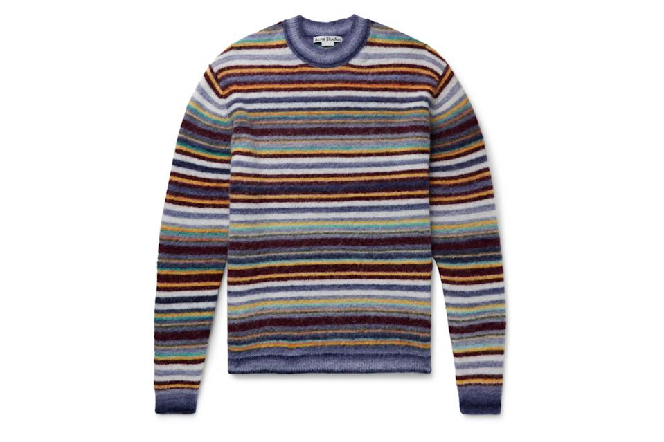 "$470, Mr Porter. <a href=""https://www.mrporter.com/en-us/mens/product/acne-studios/clothing/crew-necks/nosti-striped-knitted-sweater/10516758728013989"" rel=""nofollow noopener"" target=""_blank"" data-ylk=""slk:Get it now!"" class=""link rapid-noclick-resp"">Get it now!</a>"
