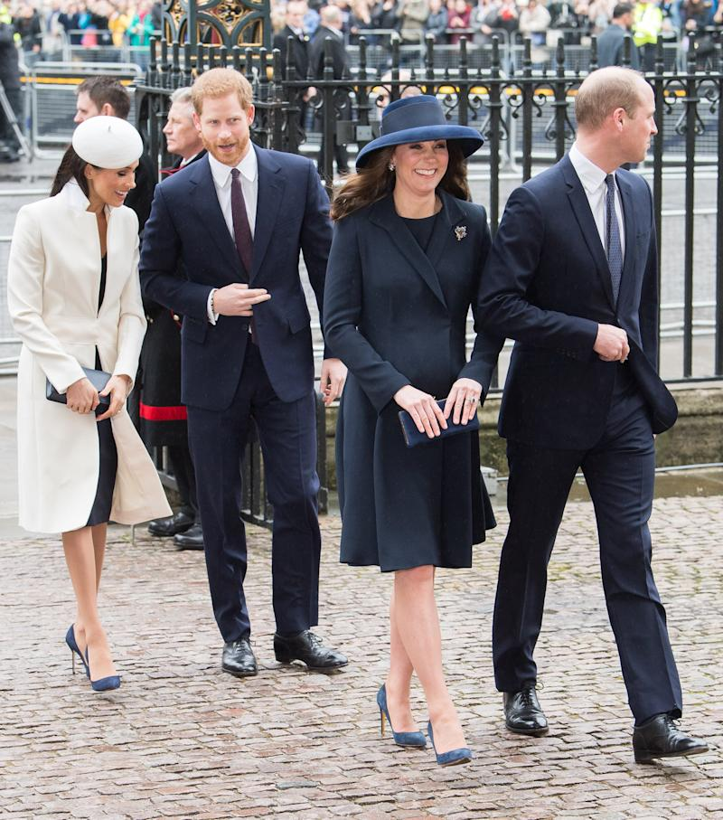 From left: Meghan Markle, Prince Harry, Kate Middleton, and Prince William enter the Commonwealth Day Service at Westminster Abbey.