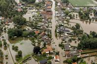 Brommelen in the Netherlands was flooded after a levee of the Juliana Canal broke