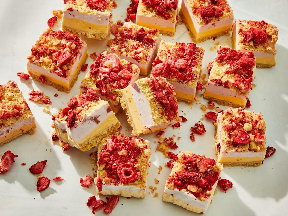 "<p><strong>Recipe: <a href=""https://www.southernliving.com/recipes/strawberry-shortcake-ice-cream-bars"" rel=""nofollow noopener"" target=""_blank"" data-ylk=""slk:Strawberry Shortcake Ice Cream Bars"" class=""link rapid-noclick-resp"">Strawberry Shortcake Ice Cream Bars</a></strong></p> <p>Reminiscent of the strawberry shortcake bars from the ice cream truck, these pretty-in-pink bars are so fun to layer.</p>"