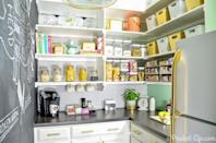 """<p>This blogger's pantry transformation gets two things majorly right: First, clear canisters make it easy to see how much food you have. And second, a variety of stylish choices (including a chalkboard wall!) create a space that you actually want to spend time in — and keep tidy. </p><p><a href=""""http://www.aprudentlife.com/2014/organized-pantry-reveal/"""" rel=""""nofollow noopener"""" target=""""_blank"""" data-ylk=""""slk:Get the tutorial at Polished Habitat »"""" class=""""link rapid-noclick-resp""""><em>Get the tutorial at Polished Habitat »</em></a><br></p>"""
