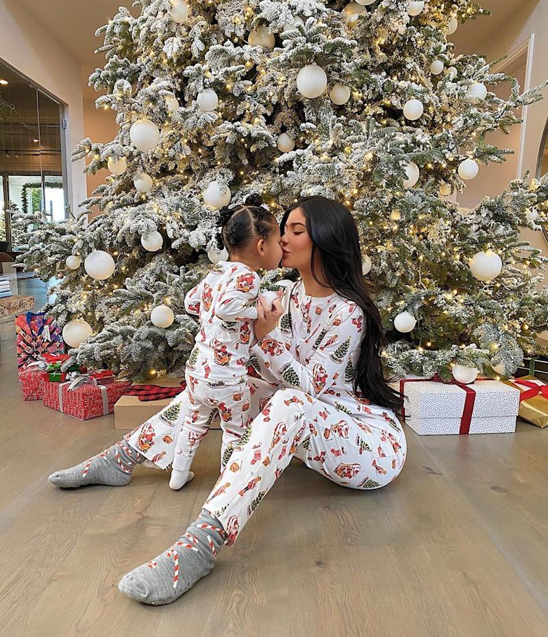 Kylie Jenner and Stormi under the Christmas tree