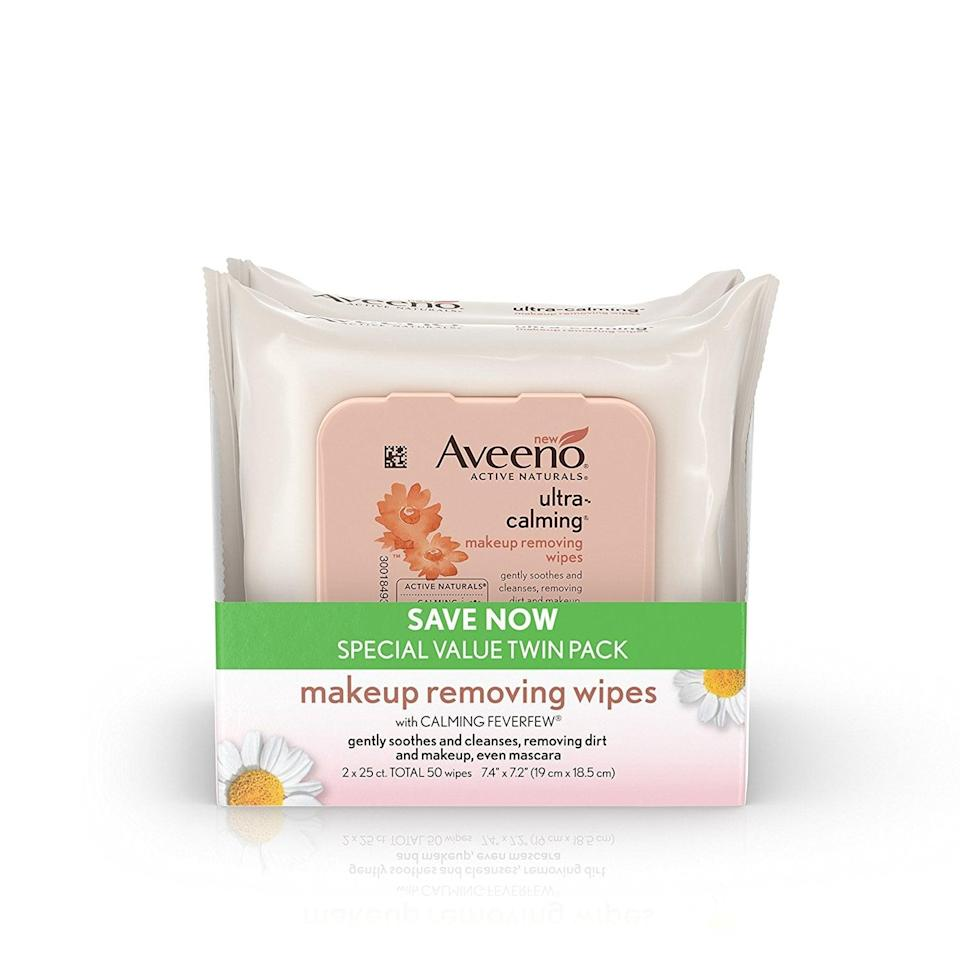 <p>Anytime we find a great makeup remover for sensitive skin, we have to share it. These <span>Aveeno Ultra-Calming Cleansing Oil-Free Makeup Removing Wipes For Sensitive Skin</span> ($11 for a two-pack) are a great multitasker.</p>