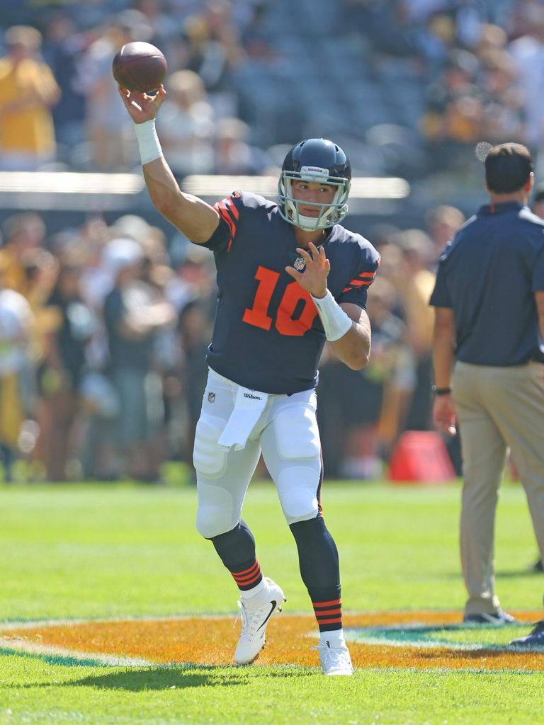 Sep 24, 2017; Chicago, IL, USA; Chicago Bears quarterback Mitchell Trubisky (10) warms up prior to a game against the Pittsburgh Steelers at Soldier Field. Mandatory Credit: Dennis Wierzbicki-USA TODAY Sports