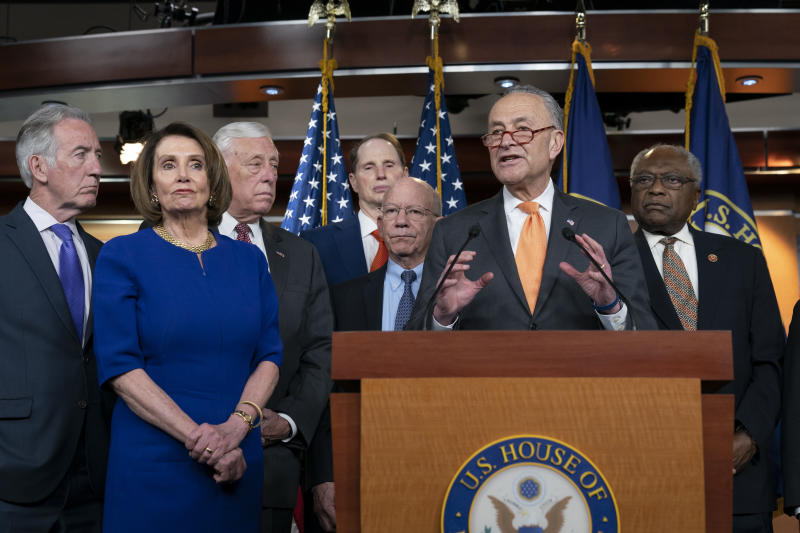 Speaker of the House Nancy Pelosi, D-Calif., left, Senate Minority Leader Chuck Schumer, D-N.Y., center, and other congressional leaders, react to a failed meeting with President Donald Trump at the White House on infrastructure, at the Capitol in Washington, Wednesday, May 22, 2019. From left are House Ways and Means Committee Chairman Richard Neal, D-Mass., Speaker Pelosi, House Majority Leader Steny Hoyer, D-Md., Sen. Ron Wyden, D-Ore., House Transportation and Infrastructure Committee Chair Peter DeFazio, D-Ore., Schumer, and House Majority Whip James E. Clyburn, D-S.C. (AP Photo/J. Scott Applewhite)