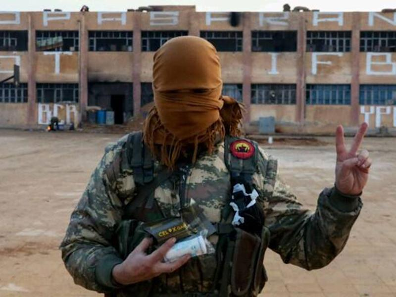 A member of the Bob Crow Brigade at the YPG's International Freedom Battalion headquarters on the Raqqa front: Supplied