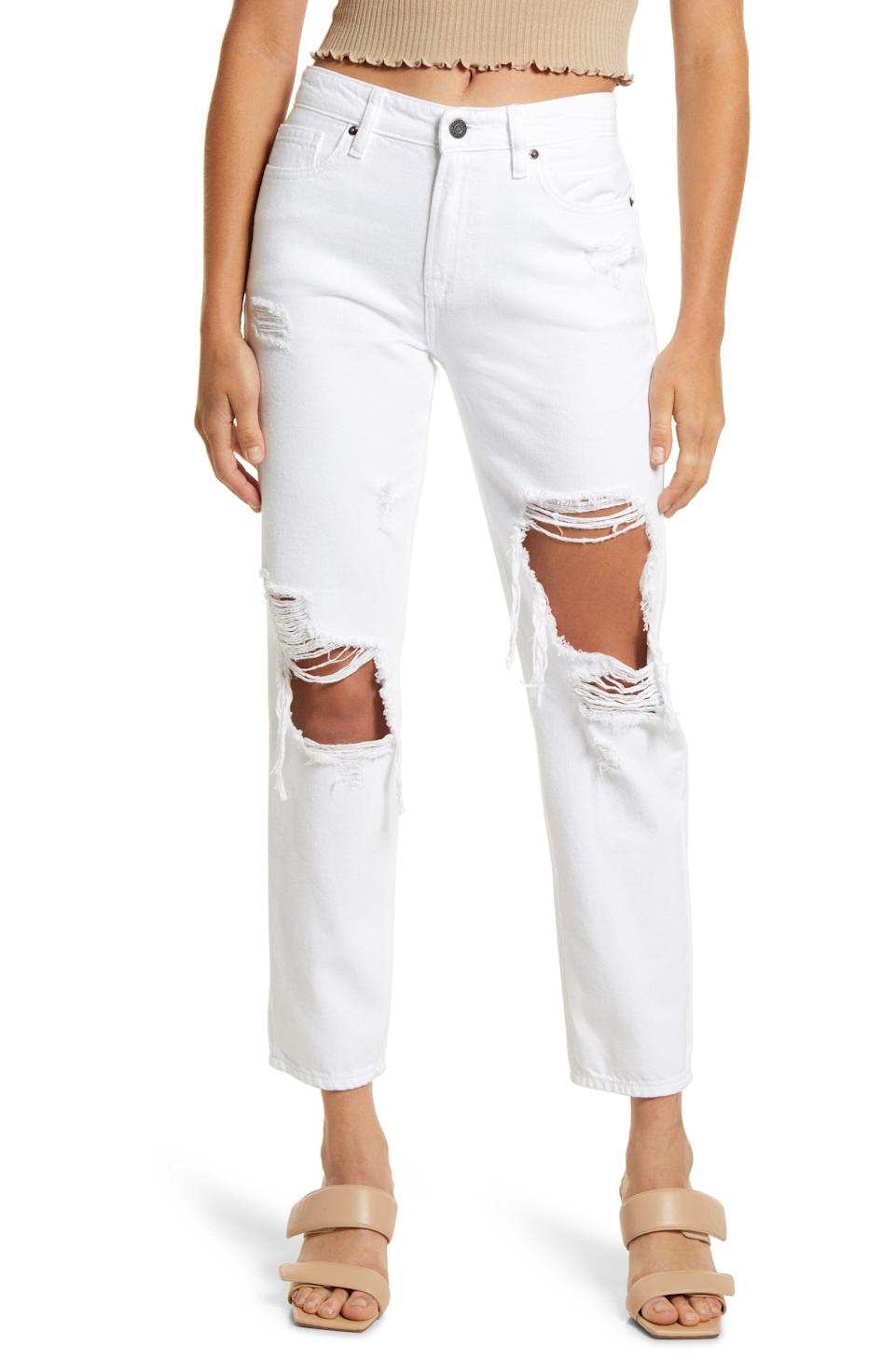 """<p><strong>HIDDEN JEANS</strong></p><p>nordstrom.com</p><p><strong>$85.00</strong></p><p><a href=""""https://go.redirectingat.com?id=74968X1596630&url=https%3A%2F%2Fwww.nordstrom.com%2Fs%2Fhidden-jeans-distressed-high-waist-ankle-straight-leg-boyfriend-jeans%2F6267772&sref=https%3A%2F%2Fwww.womenshealthmag.com%2Flife%2Fg37080961%2Fbest-boyfriend-jeans%2F"""" rel=""""nofollow noopener"""" target=""""_blank"""" data-ylk=""""slk:Shop Now"""" class=""""link rapid-noclick-resp"""">Shop Now</a></p><p>You probably own a pair of white jeans, but this distressed, straight leg, cropped pair is a great way to mix up your denim arsenal. They're made with 100 percent cotton to be extra soft and comfy, too.</p>"""