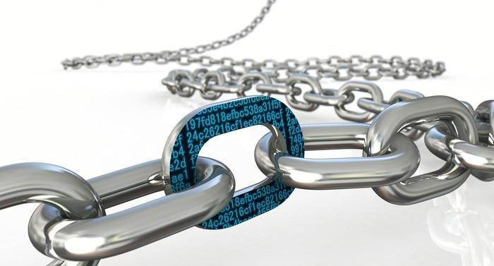 Rendering of a steel chain zig-zagging across a white table. A single chain link is covered in black-and-green digital data.