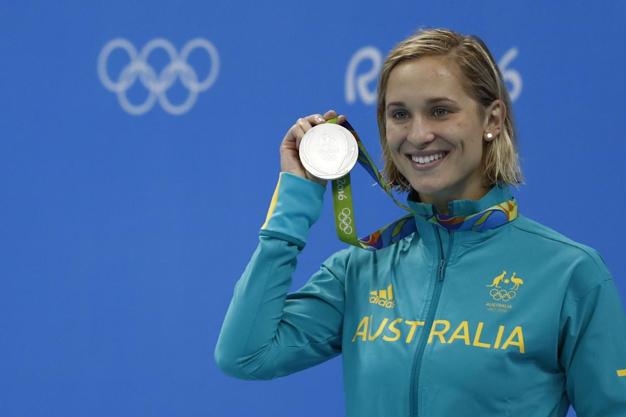 Australia's Madeline Groves poses with her silver medal on the podium of the Women's 200m Butterfly Final during the swimming event at the Rio 2016 Olympic Games at the Olympic Aquatics Stadium in Rio de Janeiro on August 10, 2016.   / AFP / Odd Andersen        (Photo credit should read ODD ANDERSEN/AFP via Getty Images)
