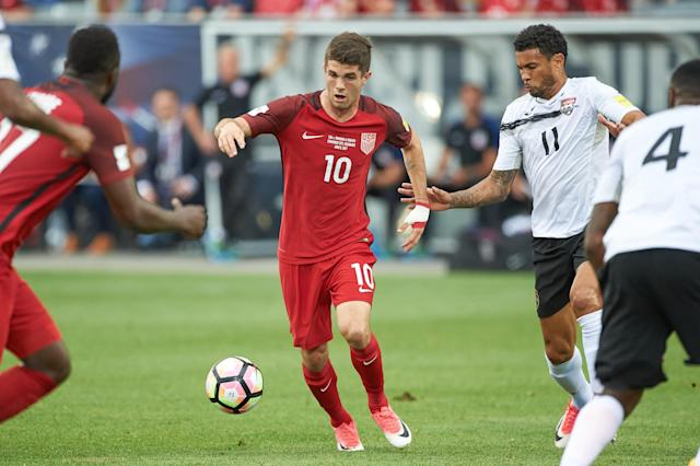 "<a class=""link rapid-noclick-resp"" href=""/soccer/players/christian-pulisic/"" data-ylk=""slk:Christian Pulisic"">Christian Pulisic</a> scored twice against Trinidad and Tobago back in June. (Getty)"