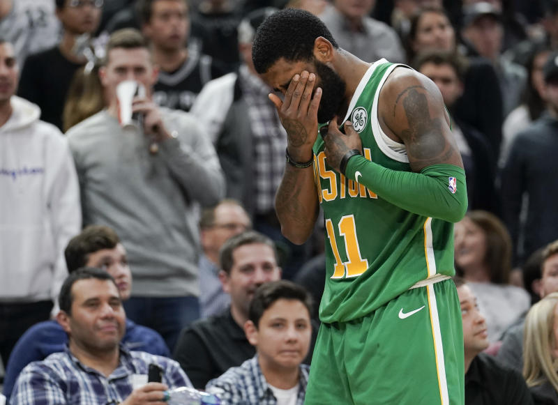 Kyrie Irving of Boston Celtics sits out game with eye injury