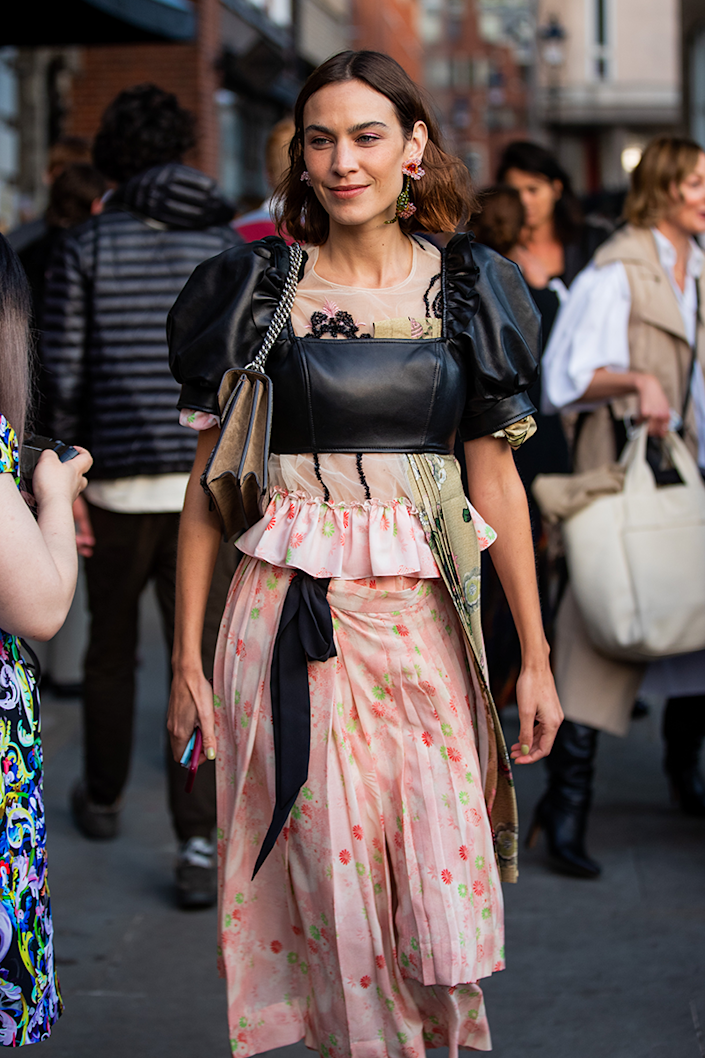 <p>Alexa Chung is the first cab off the rank in this contrasting pink floral and black leather look.</p>
