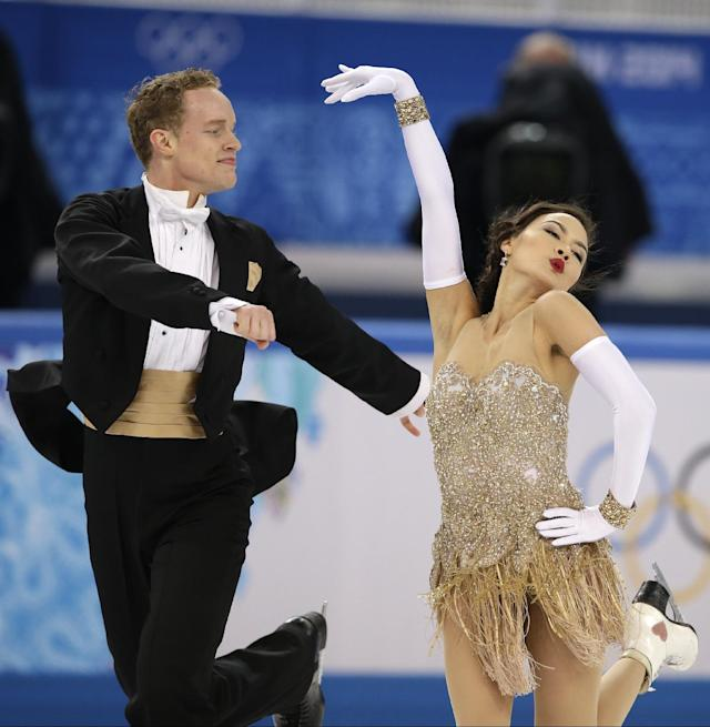 Madison Chock and Evan Bates of the United States compete in the ice dance short dance figure skating competition at the Iceberg Skating Palace during the 2014 Winter Olympics, Sunday, Feb. 16, 2014, in Sochi, Russia