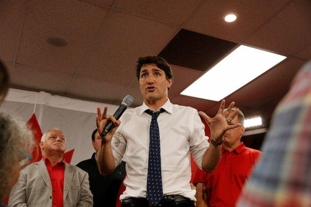 PHOTO: Canada's Prime Minister Justin Trudeau campaigns at federal liberal candidate Lenore Zann's office for the upcoming election in Truro, Nova Scotia, Sept. 18, 2019. (John Morris/Reuters)