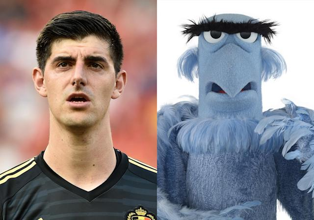 <p>Belgian keeper Thibaut Courtois and Sam the Eagle from <em>The Muppets</em> </p>