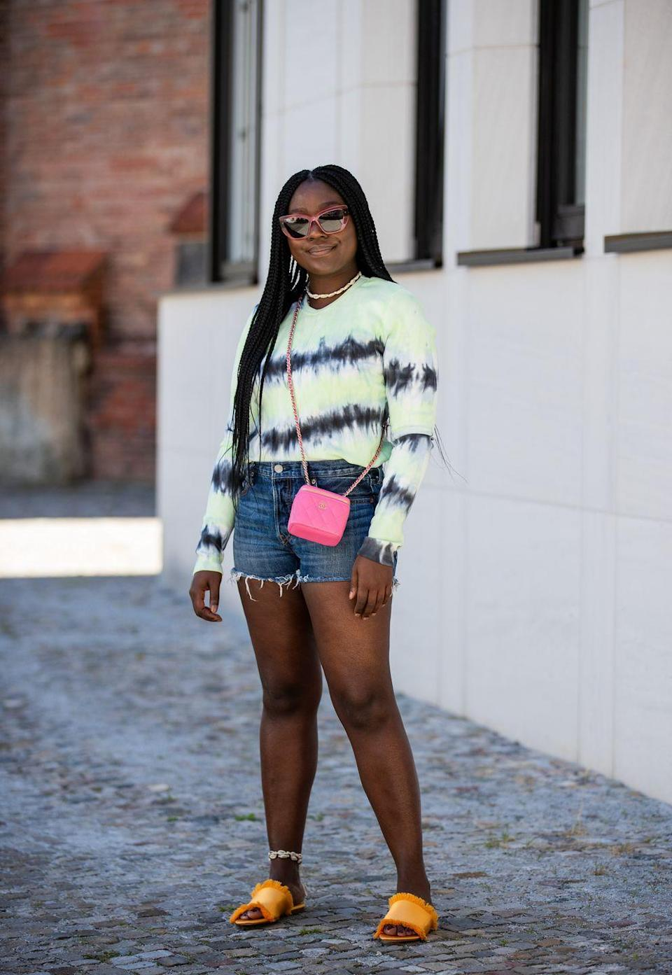 <p>Yeah, this list is basically just 435 ways to wear tie-dye. I don't make the rules. This one is the perfect example of leveling-up your look with day-glo accessories. </p>
