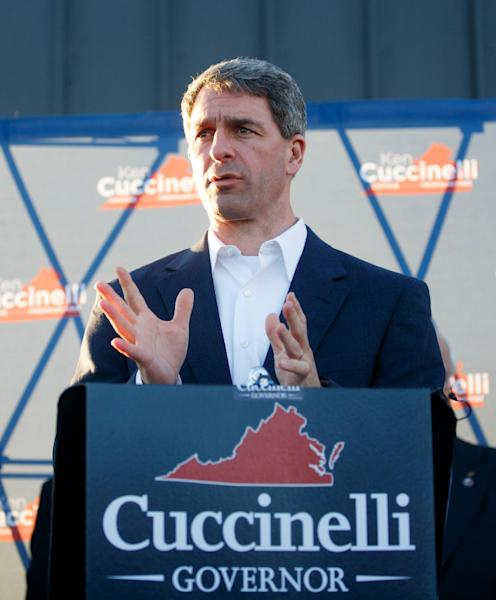 Virginia Attorney General Ken Cuccinelli speaks during a campaign rally at the Roanoke Regional Airport on Sunday Nov. 3, 2013. (AP Photo/ The Roanoke Times, Joel Hawksley)